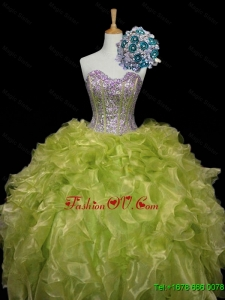 Custom Made Ball Gown Sweet 16 Dresses with Sequins and Ruffles in Yellow Green
