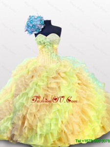 Custom Made Multi Color Beading Quinceanera Dresses with Sweetheart
