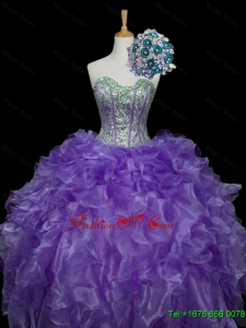 Custom Made Sweetheart Purple Quinceanera Dresses with Sequins and Ruffles for 2015