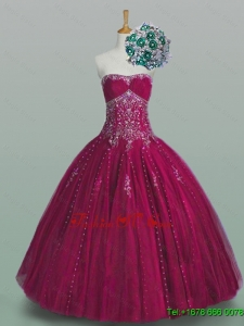 2015 New Style Strapless Beaded Quinceanera Dresses in Tulle