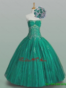 2015 Real Sample Strapless Quinceanera Dresses with Beading and Appliques