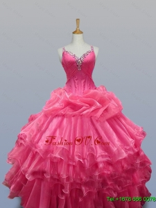 2015 Real Sample Straps Quinceanera Dresses with Beading in Organza