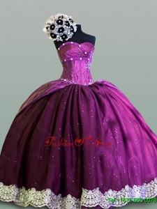 2015 Real Sample Sweetheart Quinceanera Dresses with Lace