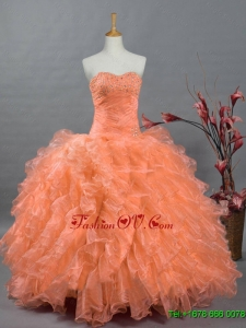 2015 Real Sample Sweetheart Quinceanera Gowns with Beading and Ruffles