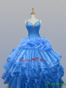 Real Sample Beaded Quinceanera Dresses with Ruffled Layers for 2015