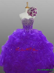 2015 Real Sample Beaded Quinceanera Dresses with Rolling Flowers