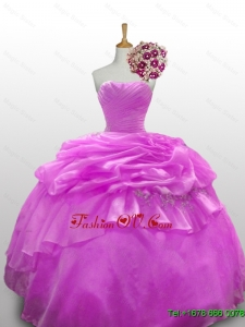 2015 Real Sample Beaded Quinceanera Dresses with Ruffled Layers