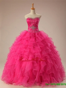 2015 Real Sample Beaded Quinceanera Dresses with Ruffles in Organza