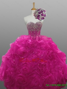 2015 Real Sample Quinceanera Dresses with Beading and Rolling Flowers