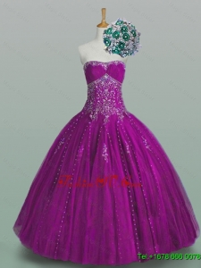 2015 Real Sample Strapless Beaded Quinceanera Dresses with Appliques