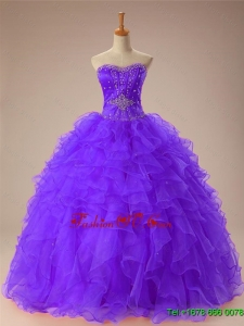 2015 Real Sample Sweetheart Beaded Quinceanera Dresses with Ruffles