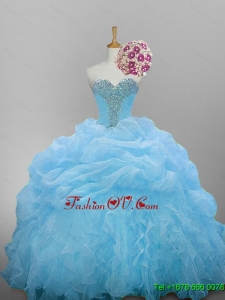 2015 Real Sample Sweetheart Quinceanera Dresses with Beading and Ruffled Layers
