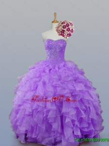 2015 Real Sample Sweetheart Quinceanera Dresses with Beading and Ruffles