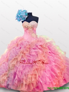 2015 Real Sample Sweetheart Quinceanera Dresses with Sequins and Ruffles