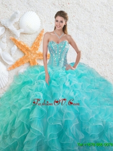 Elegant 2016 Beading Sweetheart Quinceanera Dresses in Aqua Blue