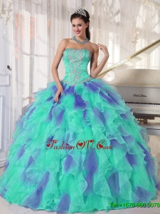 Elegant 2016 Multi Color Strapless Floor Length Appliques Quinceanera Dresses with Beading