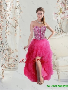 Elegant High Low Sweetheart Beaded and Ruffles Dama Dresses in Hot Pink