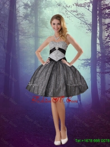 2016 Wonderful Sweetheart Appliques Dama Dresses with Mini Length in Black