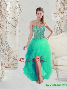 Comfortable High Low Beaded and Ruffles Apple Green Prom Dresses for 2016