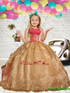 2016 Fall Fashionable Gold Embroidery Little Girl Pageant Dress with Ruffles