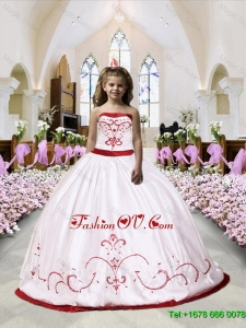 2016 Fall Luxurious Embroidery Satin Little Girl Pageant Dress in White