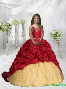 2016 Fall Luxurious Spaghetti Straps Pick Ups Little Girl Pageant Dress with Sweep Train