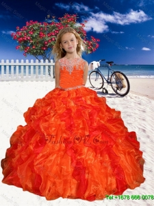 2016 Spring Perfect Appliques Little Girl Pageant Dress in Orange Red with Beaded Decorate