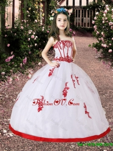 2016 Spring Perfect White and Red Little Girl Pageant Dress with Appliques