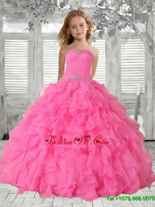 2016 Summer Cheap Beading Rose Pink Little Girl Pageant Dress with Ruffles