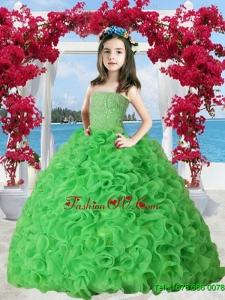 2016 Summer Cheap Spring Green Organza Ruffles Little Girl Pageant Dress with Beading