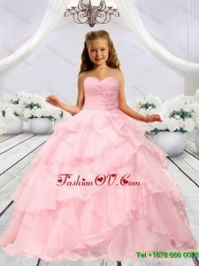 2016 Summer Discount Baby Pink Beaded Decorats Little Girl Pageant Dress with Layers