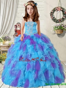2016 Summer New Style Appliques Little Girl Pageant Dress with Ruffles in Purple and Blue