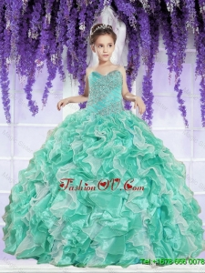 2016 Summer Popular Ruffles and Beaded Decorate Little Girl Pageant Dress in Apple Green
