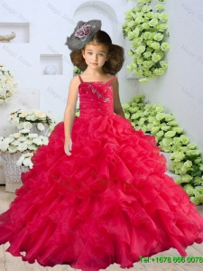 2016 Winter New Style Straps Beading and Ruching Little Girl Pageant Dress in Coral Red