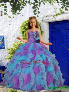 Luxurious 2016 Winter Beading and Ruffles Purple and Blue Little Girl Pageant Dress with Hand Made Flower