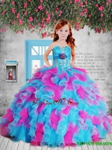 Pretty 2016 Summer Appliques Pink and Blue Litttle Girl Pageant Dress with Hand Made Flower and Ruffles