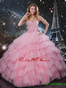 2015 Comfortable Beaded Ball Gown Pink Sweet 16 Dresses with Floor Length