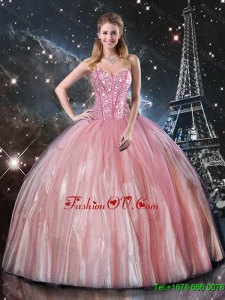 Affordable Ball Gown Sweetheart Beaded Quinceanera Dresses in Pink