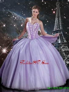Cheap Sweetheart Lavender Tulle Sweet 16 Dresses with Beading