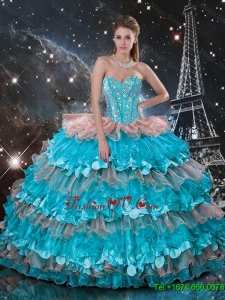 Discount Sweetheart Quinceanera Dresses with Beading and Ruffled Layers
