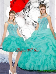 Elegant Straps Ball Gown Detachable Quinceanera Dresses in Turquoise