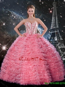 Latest Ball Gown Beaded Rose Pink Quinceanera Dresses with Ruffles for 2016 Spring