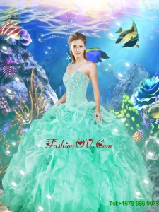 Latest Beaded and Ruffles Sweet 16 Dresses in Apple Green