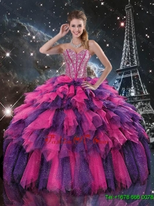 Luxurious Beaded and Sweetheart Quinceanera Dresses in Multi Color for 2016
