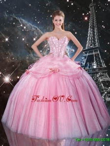 Luxurious Rose Pink Sweet 16 Dresses with Beading and Bowknot