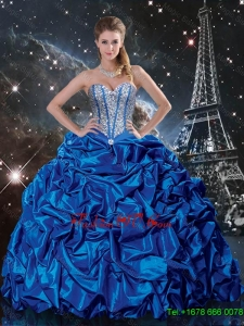 Luxurious Royal Blue Quinceanera Dresses with Beading and Pick Ups