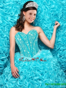 Perfect Aqua Blue Quinceanera Dresses with Beading and Ruffles