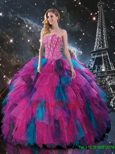 Perfect Multi Color Sweetheart Quinceanera Dresses with Beading for 2015 Fall
