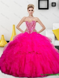 Wonderful Beading and Ruffles Sweetheart 2016 Quinceanera Dresses