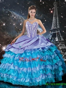 Wonderful Multi Color Sweet 16 Dresses with Ruffled Layers and Beading for 2015 Fall